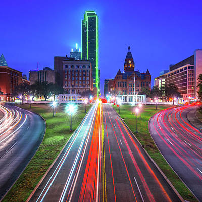 Photograph - Dallas Texas Skyline - Dealey Plaza - Square Format by Gregory Ballos