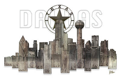 Digital Art - Dallas Texas Skyline by Doug Kreuger