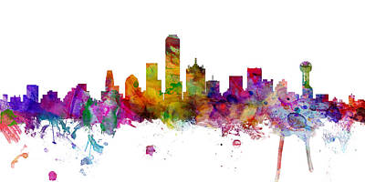 Dallas Skyline Digital Art - Dallas Texas Skyline Panoramic by Michael Tompsett