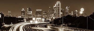 Photograph - Dallas Texas Skyline Panoramic - Sepia by Gregory Ballos