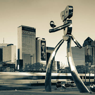 Photograph - Dallas Texas Traveling Man Cityscape - Sepia Square Format by Gregory Ballos