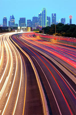 Photograph - Dallas Texas Vertical Skyline - Color Edition by Gregory Ballos