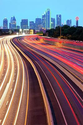 Dallas Skyline Photograph - Dallas Texas Vertical Skyline - Color Edition by Gregory Ballos