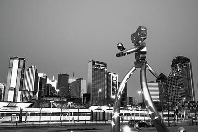 Photograph - Dallas Traveling Man And Skyline - Black And White by Gregory Ballos