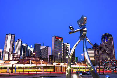 Photograph - Dallas Traveling Man And Skyline by Gregory Ballos