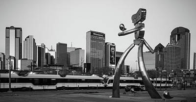 Photograph - Dallas Traveling Man Skyline Panorama - Monochrome by Gregory Ballos