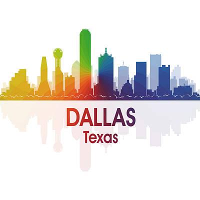 Usa Flag Mixed Media - Dallas Tx 1 Squared by Angelina Vick