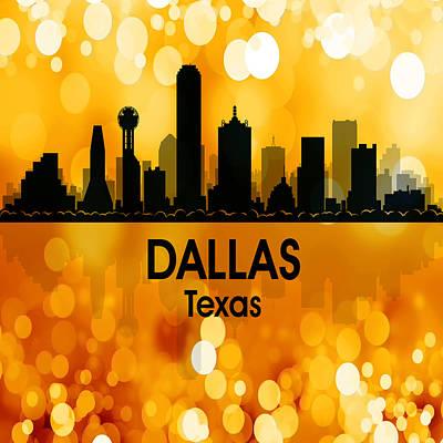 Usa Flag Mixed Media - Dallas Tx 3 Squared by Angelina Vick