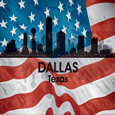 Abstract Skyline Mixed Media - Dallas TX American Flag by Angelina Tamez