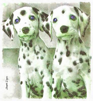 Babies Digital Art - Dalmatian Brothers - Da by Leonardo Digenio