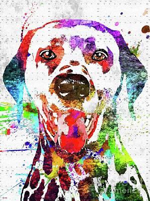 Watercolor Pet Portraits Mixed Media - Dalmatian Dog Portrait by Daniel Janda