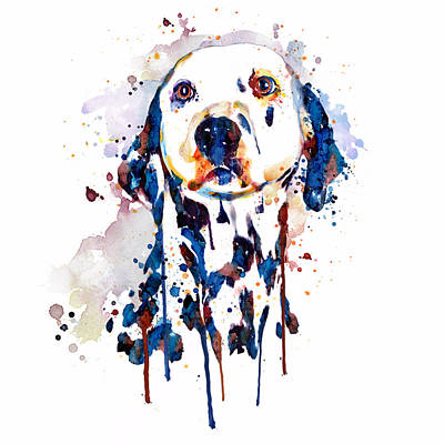 Watercolor Pet Portraits Mixed Media - Dalmatian Head by Marian Voicu