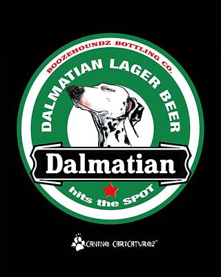 Drawing - Dalmatian Lager Beer by John LaFree