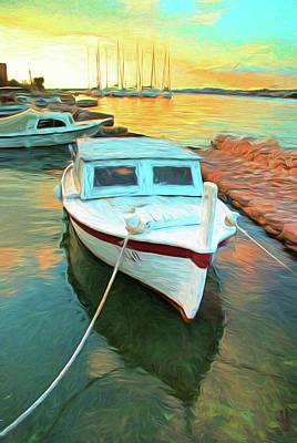 Digital Art - Dalmatian Marina Sunset by Dennis Cox