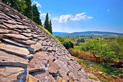 Photograph - Dalmatian Stone Roof Detail And Skrip Village Landscape View by Brch Photography