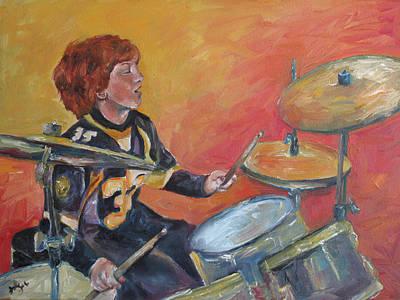Drum Set Painting - Dalton Drums by Julie Dalton Gourgues