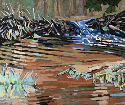 Beaver Lake Painting - Dam Beavers by Phil Chadwick