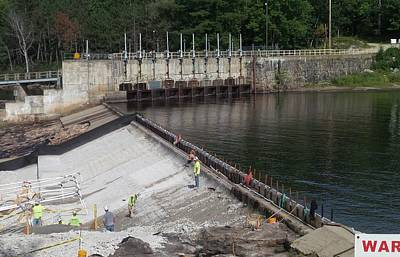Photograph - Dam Repairs  Along The Androscoggin River by Mike Breau