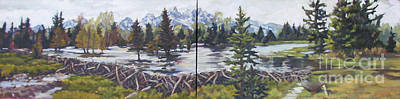 Flooding Painting - Dam Tetons by Patricia A Griffin