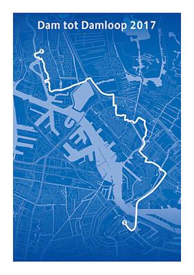Amsterdam Digital Art - Dam Tot Damloop Blue by Big City Artwork