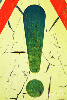 Damaged Surface Of A Road Warning Sign In France Art Print by Sami Sarkis