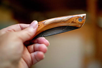 Photograph - Damascene Steel Knife With Yew Handle by Jean Gill