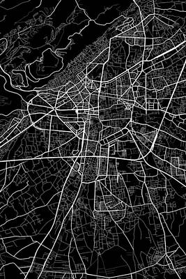 Syria Digital Art - Damascus Syria Dark Map by Jurq Studio