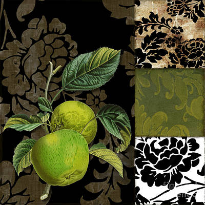 Pears Painting - Damask Lerain Granny Apples by Mindy Sommers