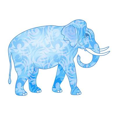 Animals Digital Art Royalty Free Images - Damask Pattern Elephant Royalty-Free Image by Antique Images