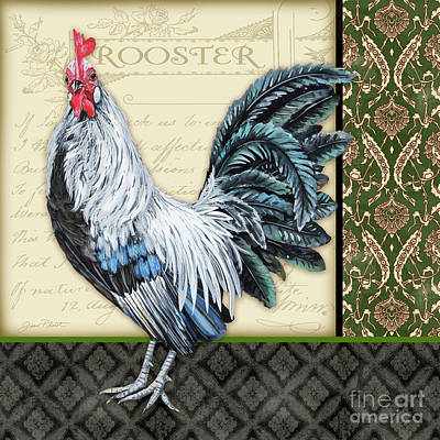 Painting - Damask Rooster-b by Jean Plout