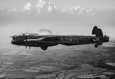 Photograph - Dambusters Lancaster Aj-n Black And White Version by Gary Eason