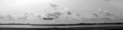 Photograph - Dambusters Lancasters Practising Bw Version by Gary Eason