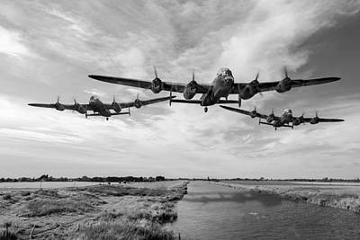 Digital Art - Dambusters Practising Low Level Flying Bw Version by Gary Eason