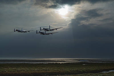 Digital Art - Dambusters Training Over The Wash by Gary Eason