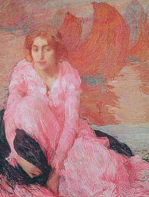 Lady In Red Painting - Dame En Rose by Edmond Francois Aman Jean