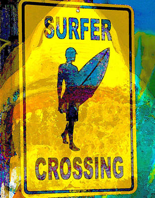 Painting - Danger Surfer Crossing by David Lee Thompson