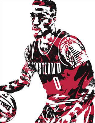 Damian Lillard Portland Trail Blazers Pixel Art 10 Art Print