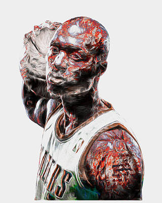 Photograph - Damian Lillard Portland Trailblazers Digital Painting 25 by David Haskett