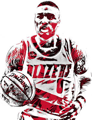Basket Ball Mixed Media - Damian Lillard Portland Trailblazers Pixel Art by Joe Hamilton
