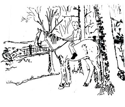 Drawing - Dan And Horse 11 by Larry Campbell