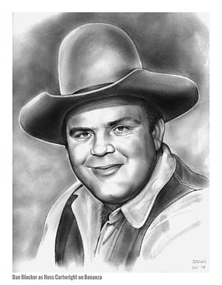 Western Drawing - Dan Blocker by Greg Joens
