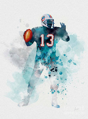 Dolphin Art Mixed Media - Dan Marino by Rebecca Jenkins