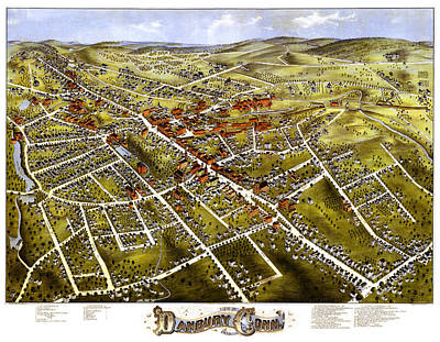 Photograph - Danbury Connecticut 1875 Map by Phil Cardamone