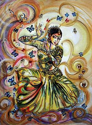 Miniature Painting - Dance And Butterflies by Harsh Malik