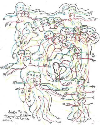 Folk Art Drawing - Dance For The Radio by Robert Wolverton Jr