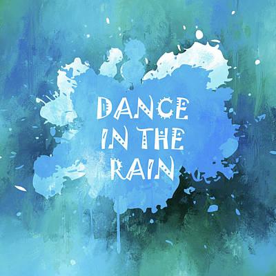 Mixed Media - Dance In The Rain Cool Blue by Georgiana Romanovna