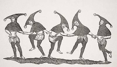 Joke Drawing - Dance Of Fools. 19th Century by Vintage Design Pics