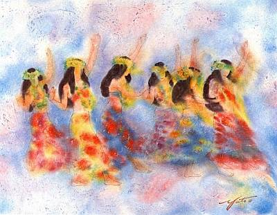 Hawaii Hula Dancer Painting - Dance Of Paradise by John YATO
