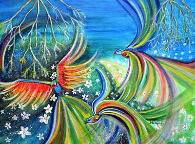 Painting - Dance Of The Birds Textured Abstract Colorful Painting by Manjiri Kanvinde
