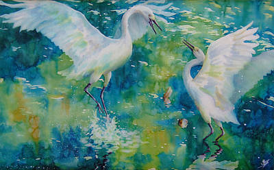 Dance Of The Egrets Print by Deborah Younglao